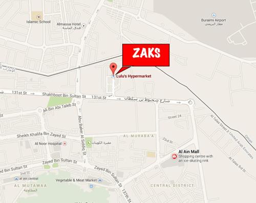 Zaks Uniform Store Al Ain Location Map - Al ain map